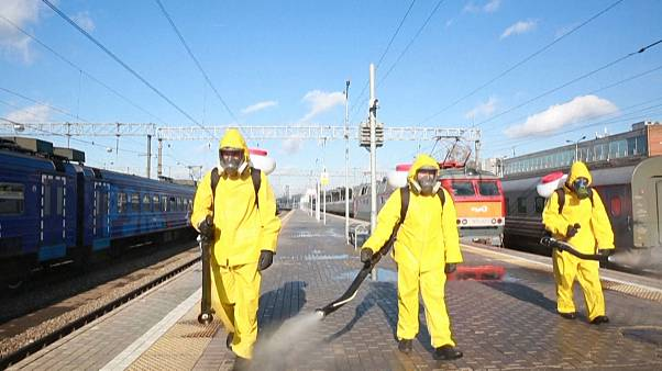 Moscow train stations disinfected as coronavirus cases hit record high in Russia