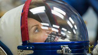 Kate Rubins, a 64. váltás tagja a kilövés előtt 2020. október 14-én