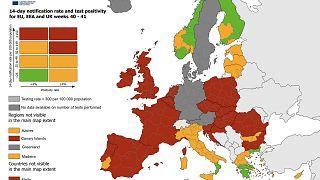 Karte zu Risikogebieten, Europäisches Zentrum für die Prävention und die Kontrolle von Krankheiten (ECDC)