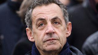 French former president Nicolas Sarkozy attends a ceremony at the Arc de Triomphe in Paris Monday Nov. 11, 2019.
