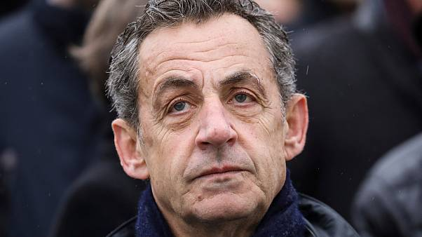 French former president Nicolas Sarkozy attends a ceremony at the Arc de Triomphe in Paris Monday Nov. 11, 2019.