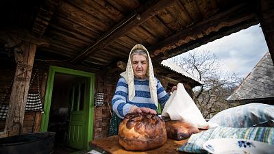 Baking the traditional Easter Bread. Maramures County