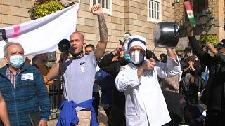 ویدئو؛ اعتراض کارکنان رستورانهای بارسلون به محدودیتهای کرونایی