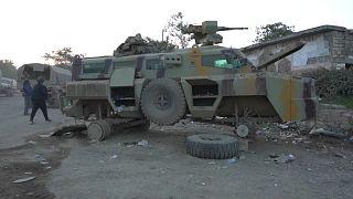 Ein außer Gefecht gesetzter Panzer in der Region Jabrayil in Berg-Karabach
