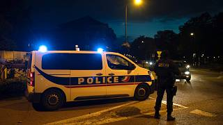 French police officers stand guard a street in Eragny on October 16, 2020