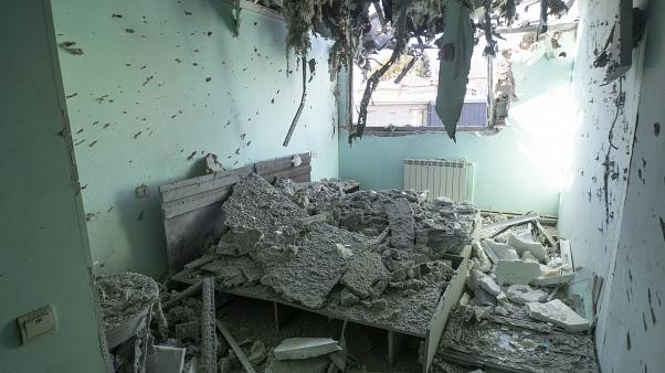 A hotel room is destroyed by shelling in Stepanakert/Khankendi in the region of Nagorno-Karabakh. Oct. 17, 2020.