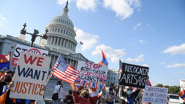 Ermeni diasporasının ABD Kongresi önünde yaptığı protesto gösterisi