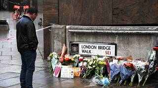 File photo: Flowers are left in memory of Jack Merritt, who was the first victim to be named after the attack on London Bridge. London, Dec. 1, 2019.