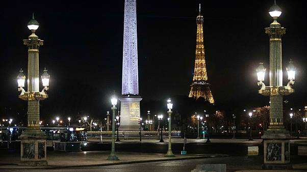 Concorde square is pictured empty during curfew in Paris. Oct. 17, 2020.