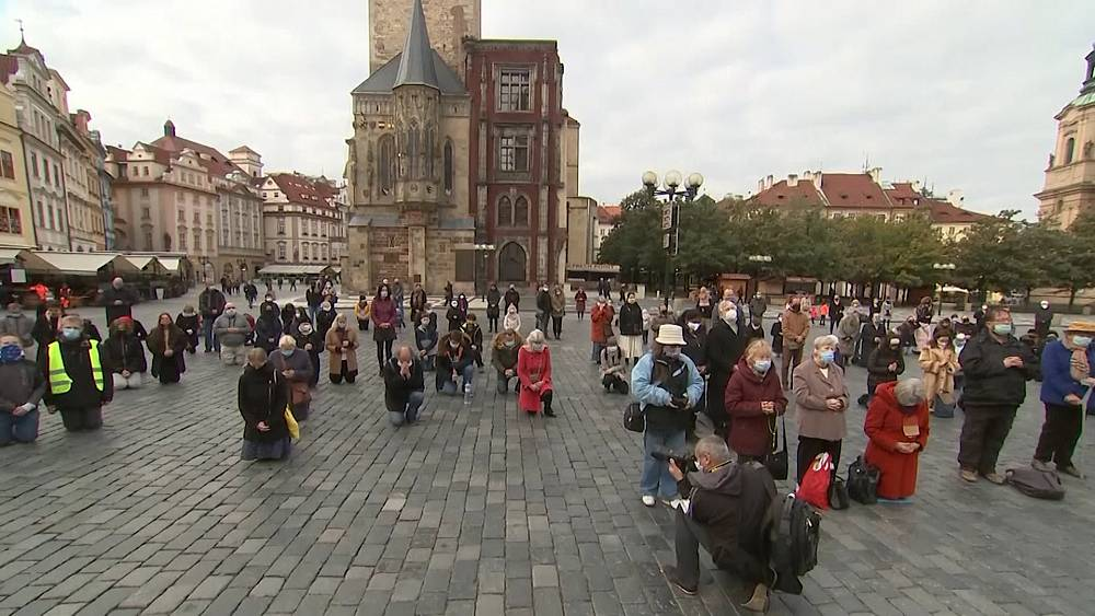 Dozens gather in Prague for outdoor Catholic mass amid COVID-19 restrictions