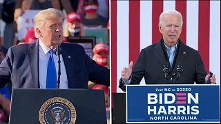 Montaje de imágenes de Donald Trump y Joe Biden