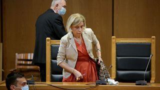 Η εισαγγελέας Αδαμαντία Οικονόμου στην έδρα του δικαστηρίου κατά τη διάρκεια της δίκης της Χρυσής Αυγής