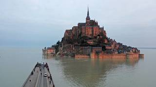 Mont-Saint-Michel surrounded by the sea during high tide