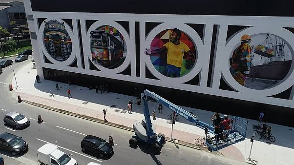 Aerial of mural which represents the symbols of Santos city including the biggest icon, Pele