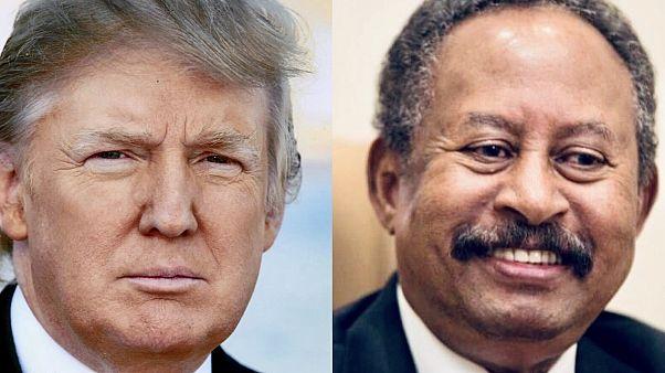 Donald Trump amerikai elnök és Abdalla Hamdok szudáni miniszterelnök