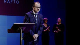 Polish lawyer Adam Bodnar receives The Rafto Prize 2018 in Bergen, Norway, Sunday Nov. 4, 2018.