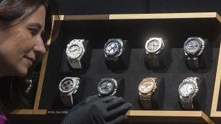 Montres de luxe présentées lors du Salon International de la Haute Horlogerie, à Genève, le 19/01/2015.