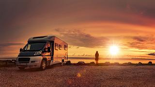 Enjoying the sunset from a mobile home on the beach