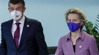 Czech Republic's PM Andrej Babis is welcomed by European Commission President Ursula von der Leyen prior to a meeting at EU headquarters in Brussels, Thursday, Oct. 15, 2020.