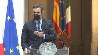 Pedro Sánchez durante la rueda de prensa en Roma