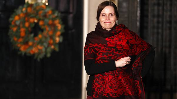 Iceland's Prime Minister Katrin Jakobsdottir leaves 10 Downing Street in London after attending a NATO reception hosted by British PM Boris Johnson in December 2019