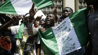 People demonstrating against police brutality on the streets of Lagos, Nigeria on Tuesday