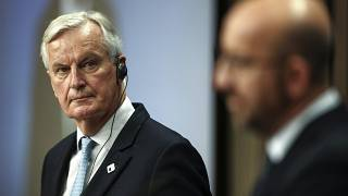 European Commission's Head of Task Force for Relations with the United Kingdom Michel Barnier, left, and European Council President Charles Michel
