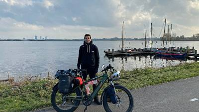 Antoine Abou on his 9-month European tour with an electric bike