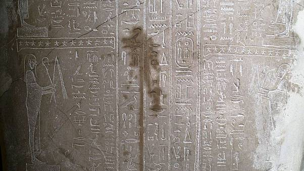 A stain was found on the Sarcophagus of the prophet Ahmose inside the Neue Museum in Berlin.