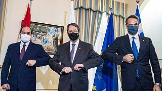 Abdül Fattah el-Sisi, Nikos Anastasiadis ve Kyriakos Miçotakis