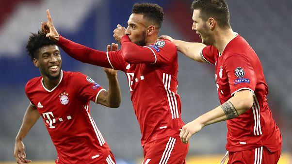 Corentin Tolisso célèbre son but pour le Bayern Munich, le 21 octobre 2020, à l'Allianz Arena de Munich, Allemagne