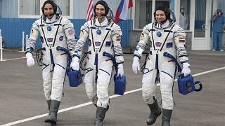 (From left) Chris Cassidy, Anatoly Ivanishin and Ivan Vagner ahead of their mission