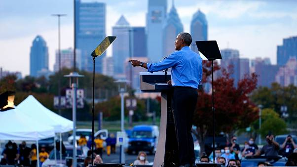 Barack Obama speaks at Citizens Bank Park as he campaigns for Joe Biden