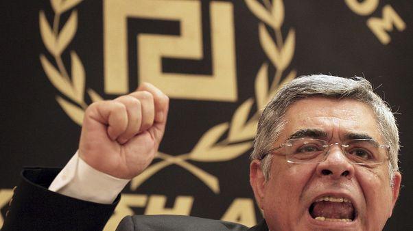Archives : le dirigeant du parti néo-nazi grec Aube dorée, Nikos Michaloliakos, à Athènes, le 6 mai 2012