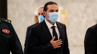 سعد الحرير يغادر مكتب الرئيس اللبناني ميشال عون في قصر بعبدا. بيروت - 2020/10/22