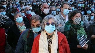 Демонстрация в поддержку свободы слова в Байонне - 18/10/2020