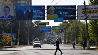Предвыборная агитация на улицах Славянска, 2020
