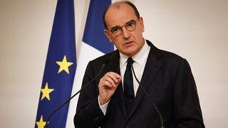Le Premier ministre français, Jean Castex, lors d'une conférence de presse consacrée à la seconde vague de l'épidémie de Covid-19, à Paris le 22 octobre 2020