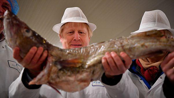 File photo: British PM Boris Johnson visits Grimsby fish market, northeast England. Dec. 9, 2020.