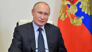 Russian president Vladimir Putin  attends a meeting with members of the Russian Union of Industrialists and Entrepreneurs via video conference on Oct. 21, 2020.