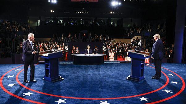 Joe Biden y Donald Trump durante el debate electoral