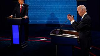 Democratic presidential candidate former Vice President Joe Biden (R) and President Donald Trump during the second and final presidential debate Thursday, Oct. 22, 2020.