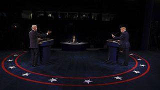 دونالد ترامب وجو بايدن يشاركان في المناظرة الرئاسية الختامية في جامعة بلمونت من ولاية تينيسسي. 2020/10/22