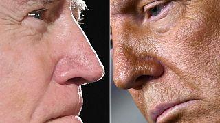 ئب الرئيس الأمريكي السابق والمرشح الديمقراطي للرئاسة جو بايدن (يسار)، خلال حديث صحفي في ويلمنجتون، والرئيس الأمريكي دونالد ترامب (يمين) خلال مؤتمر صحفي في واشنطن
