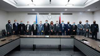 Special representative of the UN Secretary-General in Libya and representatives of the rival factions in the Libya conflict during the talks in Geneva, on October 19, 2020