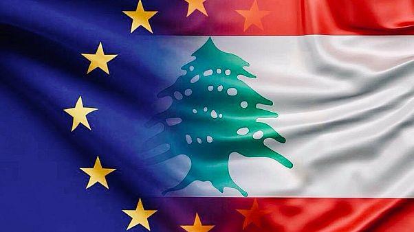 علم الاتحاد الأوروبي بجانب العلم البناني