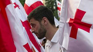 An opposition demonstrator stands between Georgian flags during a rally in front of the Georgian Parliament's building in Tbilisi, Georgia, Saturday, July 6, 2019.