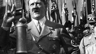 Handwritten speech notes by Adolf Hitler were auctioned on Friday