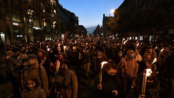 Tüntetés 2020 október 23-án Budapesten