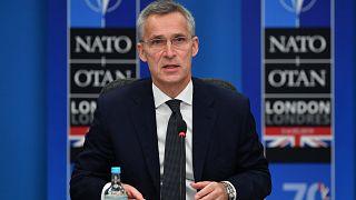 يتحدث الأمين العام لحلف الناتو ينس ستولتنبرغ في الجلسة العامة لقمة الناتو في فندق غروف في واتفورد، شمال شرق لندن، 4 ديسمبر 2019